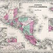 1866 Johnson Map Of Central America Poster