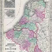 1866 Johnson Map Of Holland And Belgium Poster