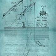 1868 Fishing Tackle Patent Blue Poster