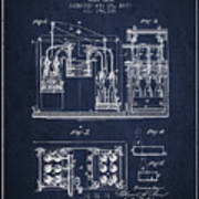 1877 Bottling Machine Patent - Navy Blue Poster