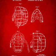 1878 Baseball Catchers Mask Patent - Red Poster