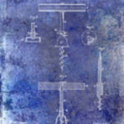 1884 Corkscrew Patent Blue Poster