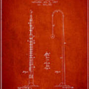 1887 Metronome Patent - Red Poster
