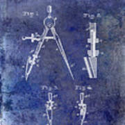 1888 Draftsmans Compass Patent Blue Poster