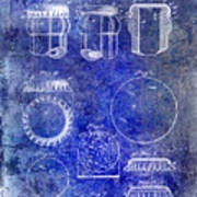 1892 Bottle Cap Patent Blue Poster