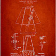 1899 Metronome Patent - Red Poster
