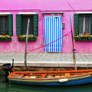 Burano Anisland Of Multi Colored Homes On Canals North Of Venice Italy Poster