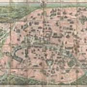 1900 Garnier Pocket Map Or Plan Of Paris France  Eiffel Tower And Other Monuments  Poster