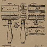 1904 Gillette Razor Patent Drawing Poster