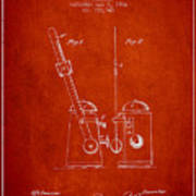 1904 Metronome Patent - Red Poster