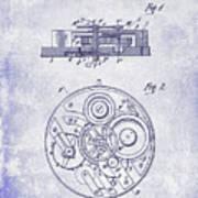 1908 Pocket Watch Patent Blueprint Poster