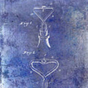 1909 Cork Extractor Patent Blue Poster