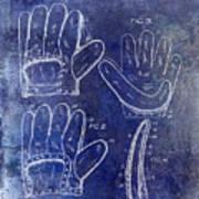 1910 Baseball Glove Patent Blue Poster