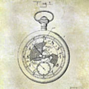 1916 Pocket Watch Patent Poster
