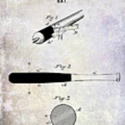 1920 Baseball Bat Patent Poster