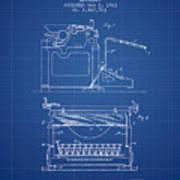 1923 Typewriter Screen Patent - Blueprint Poster