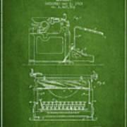 1923 Typewriter Screen Patent - Green Poster