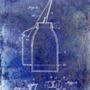 1927 Oil Can Patent Blue Poster