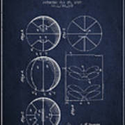 1929 Basket Ball Patent - Navy Blue Poster