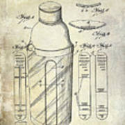 1930 Cocktail Shaker Patent Poster
