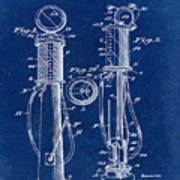 1930 Gas Pump Patent In Blue Poster