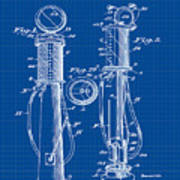 1930 Gas Pump Patent In Blue Print Poster