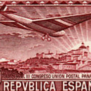 1931 Airplane Over Madrid Spain Stamp Poster