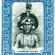 1932 Papua New Guinea Native Dandy Postage Stamp Poster