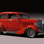 1934 Ford Red Two Door Sedan Poster
