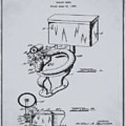 1936 Toilet Bowl Patent Antique Gray Poster