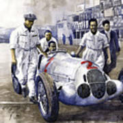 1937 Italian Gp Mercedes Benz W125 Rudolf Caracciola Poster