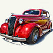1937 Red Chevy Master Deluxe Poster by Mamie Thornbrue