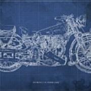 1939 Brough Superior Ss100 Blueprint Blue Background Poster
