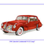 1941 Mk I Lincoln Continental Poster