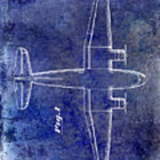 1945 Transport Airplane Patent Blue Poster
