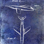 1947 Jet Airplane Patent Blue Poster