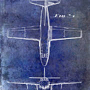 1949 Airplane Patent Drawing Blue Poster