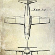 1949 Airplane Patent Drawing Poster