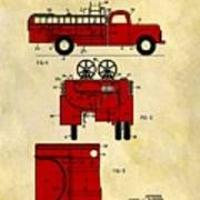 1950 Red Firetruck Patent Poster