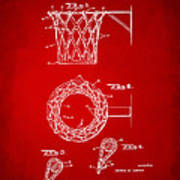 1951 Basketball Net Patent Artwork - Red Poster by Nikki Marie Smith