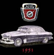 1951 Ford Two Door Sedan Tee Shirt Art Poster
