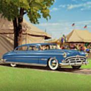1951 Hudson Hornet - Square Format - Antique Car Auto - Nostalgic Rural Country Scene Painting Poster