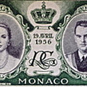 1956 Princess Grace Of Monaco Stamp II Poster