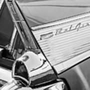 1957 Chevrolet Bel Air Tail Light Emblem -0140bw Poster