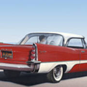 1957 De Soto Car Nostalgic Rustic Americana Antique Car Painting Red  Poster