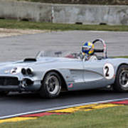 1960 Chevy Corvette At Road America Poster