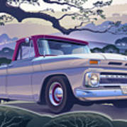 1964 Chevrolet Short Bed Custom Half Ton In The Morning Mist Poster