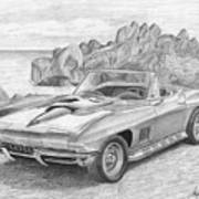 1967 Chevrolet Corvette 427 Convertible Sports Car Art Print Poster
