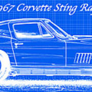 1967 Corvette Sting Ray Coupe Reversed Blueprint Poster by K Scott Teeters