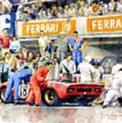1969 Le Mans 24 Ferrari 312p Pedro Rodriguez  David Piper Poster